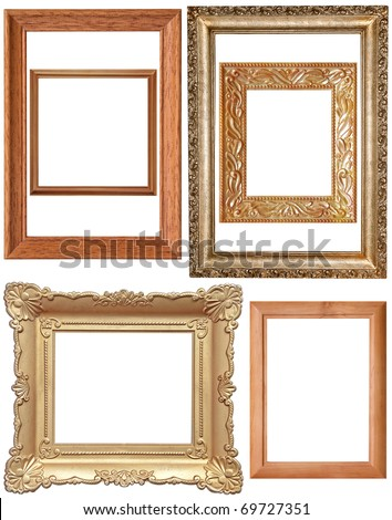 Vintage frames isolated on white set