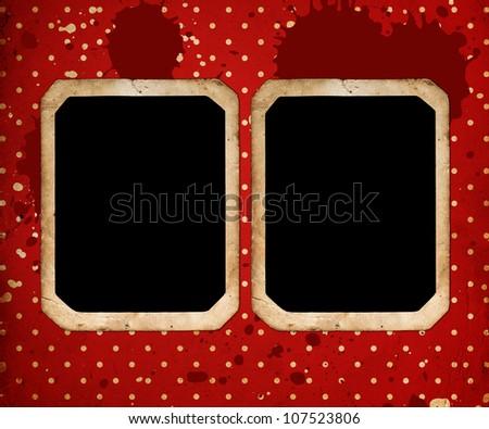 vintage frames on red retro Background - stock photo