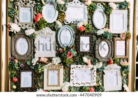 Vintage frames with the list of the wedding guests #447040909