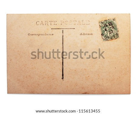 Vintage French postcard with stamp, isolated on white.