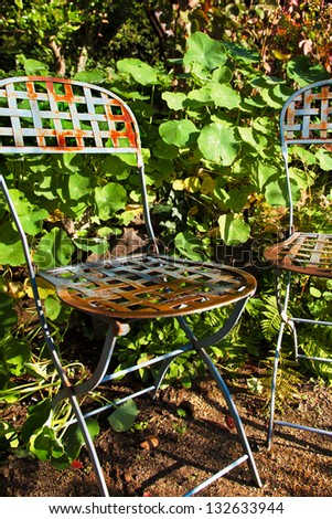 Vintage French Rusty Blue Metal Garden Chairs With A