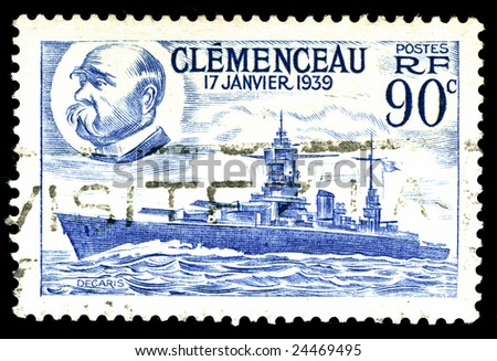 vintage french Stamp depicting the battleship Clemenceau launched 17th January 1939