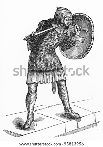 Vintage French warrior from around 1120 period -  Picture from Meyers Lexicon books collection (written in German language ) published in 1909 , Germany.