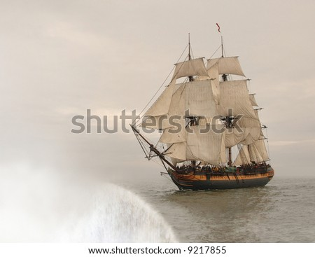 Vintage frigate about to fall off the edge of the earth
