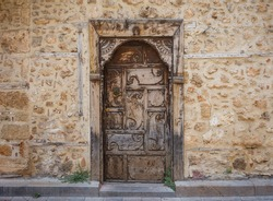 Vintage front door in the old Antalya in Turkey.