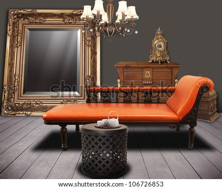 vintage furniture decorated in living-room