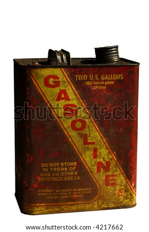 Vintage gallon Gas Can isolated on white - stock photo