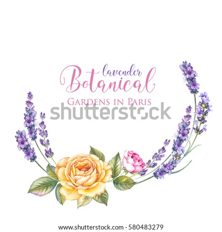 Vintage garland of blooming roses. Watercolor botanical illustration of a summer flowers. Template for invitation card. Red and pink flowers with green leaves are isolated over white background. #580483279