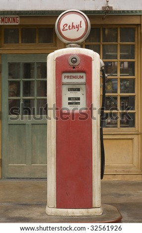 Vintage gas pump featuring ethyl gas