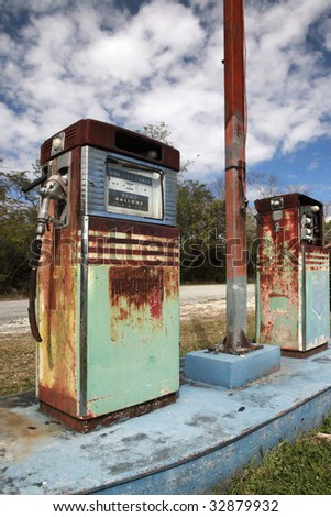 Vintage gas pumps, icons of an era to be extinct.