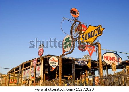 Vintage gas station signs memorabilia