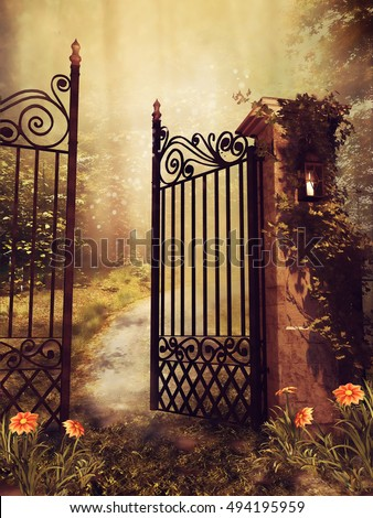 vintage gate to an autumn...