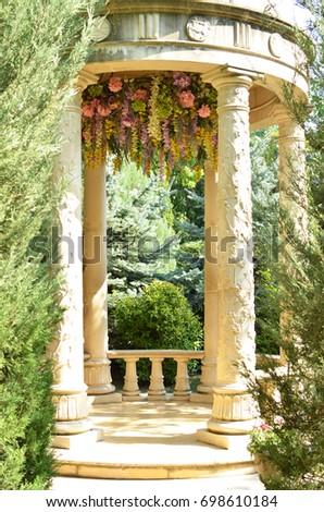 vintage gazebo in flowers, digital fresco