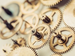 Vintage gears and cogs macro upper view