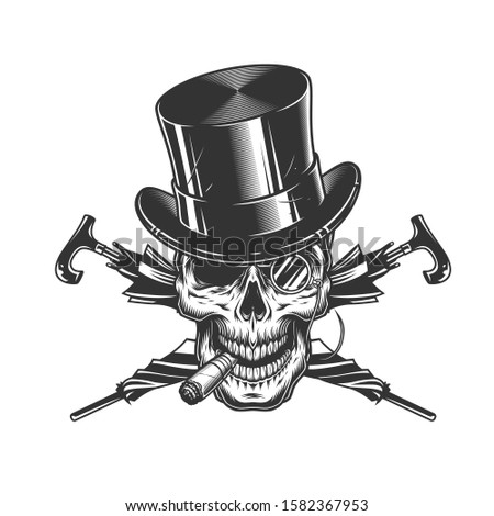 Vintage gentleman skull in cylinder hat smoking cigar with rimless eyeglasses and crossed umbrellas isolated  illustration