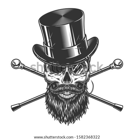 Vintage gentleman skull in cylinder hat with beard mustache rimless eyeglasses and crossed walking canes isolated  illustration