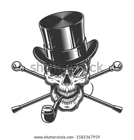 Vintage gentleman skull smoking pipe with cylinder hat rimless eyeglasses and crossed walking canes isolated  illustration