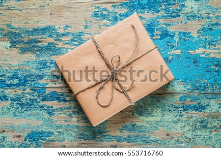 vintage gift box brown paper...
