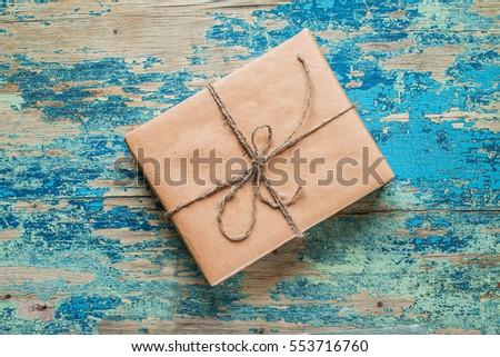 vintage gift box brown paper...