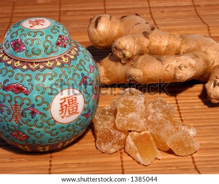 Vintage Ginger jar, with ginger root and crystalized ginger on match stick mat