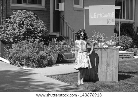 vintage girl with lemonade...