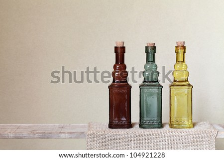 Vintage glass bottle on shelf