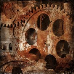 Vintage gloomy background of old clock mechanism