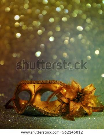 vintage gold carnival mask.