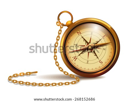 Vintage Gold Compass With Chains And Wind Rose 268152686