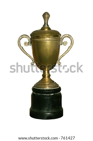 Vintage gold cup isolated with clipping path for easy masking
