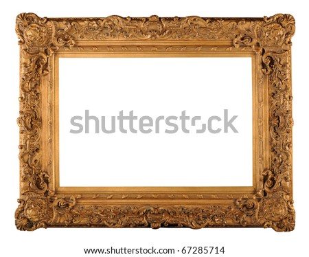 Vintage gold frame isolated over white background - With clipping path