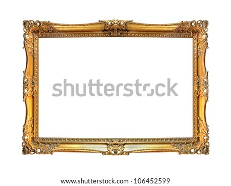 Vintage gold frame isolated with clipping path included