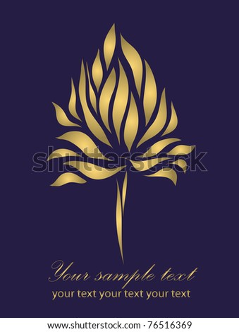 Vintage gold iris isolated on blue background with your text (raster version)  As sign, symbol, tattoo, logo, web, label, emblem.
