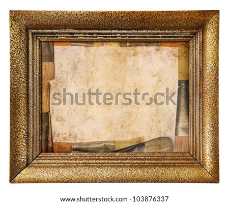 Vintage gold picture frame with painting brush