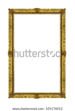 Vintage gold picture rectangle frame isolated on white background with clipping path
