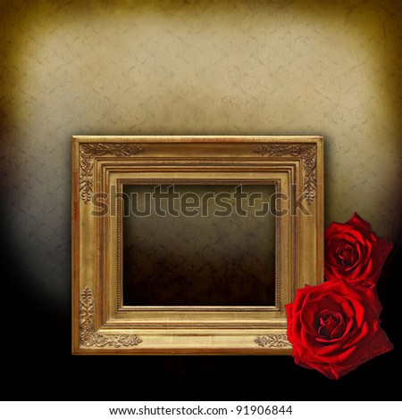 Vintage golden frame on an elegant golden floral background with two red roses