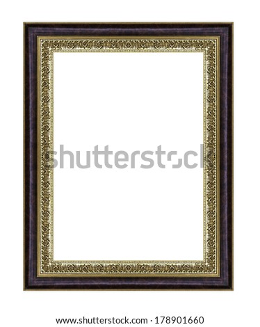 Vintage golden frame with blank space, with clipping path #178901660