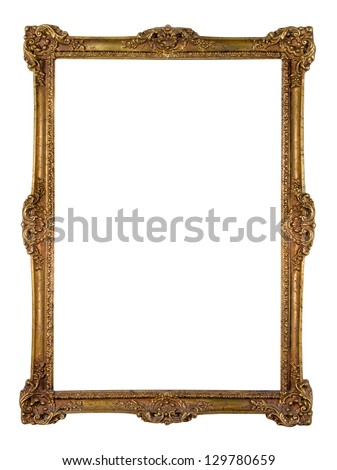 Vintage golden picture frame isolated over white (clipping path included)
