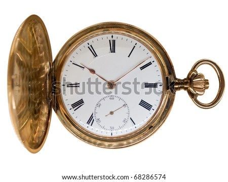 Vintage golden pocket watch, aged 1912, from Switzerland, isolated on white