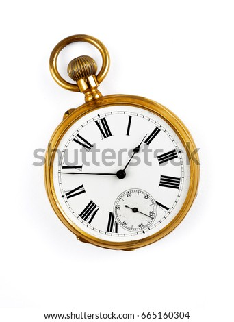 vintage golden pocket watch isolated #665160304