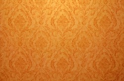 Vintage golden run-down victorian wallpaper with baroque vignette