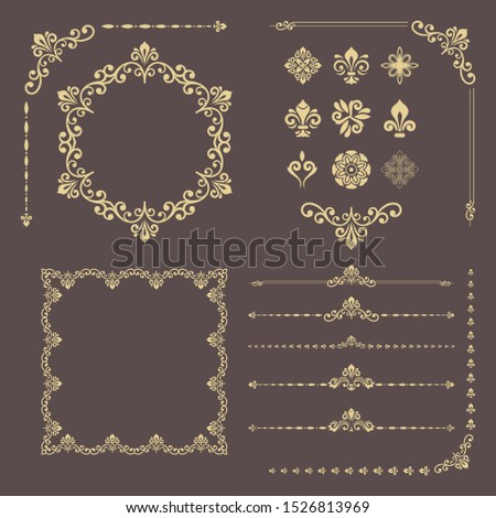 Vintage golden set of horizontal, square and round elements. Different elements for design, frames, cards, menus, backgrounds and monograms. Classic patterns. Set of vintage patterns