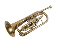 Vintage golden trumpet isolated on a white background