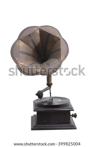 Vintage Gramophone. Antique vitrola Stock fotó ©