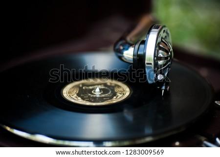 vintage gramophone, black background #1283009569