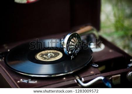 vintage gramophone, black background #1283009572
