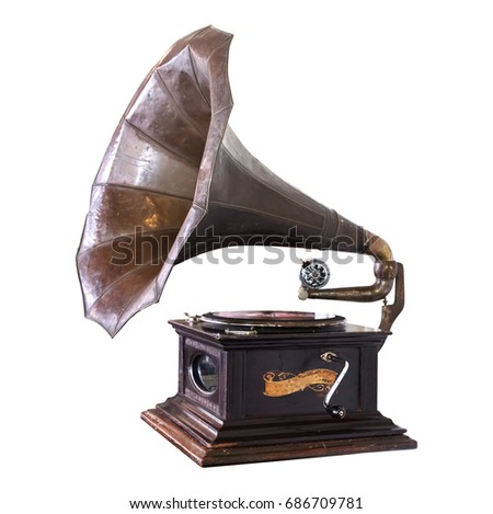 Vintage gramophone isolate on white with clipping path - retro technology. #686709781