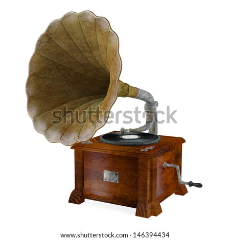 Vintage gramophone isolated #146394434