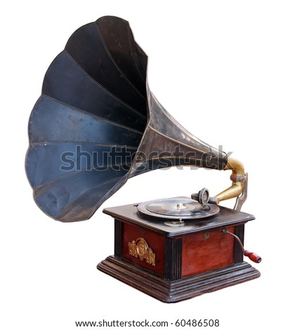 Vintage gramophone isolated. Clipping path included.