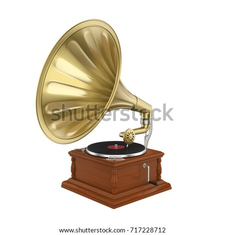 Vintage Gramophone Isolated. 3D rendering #717228712
